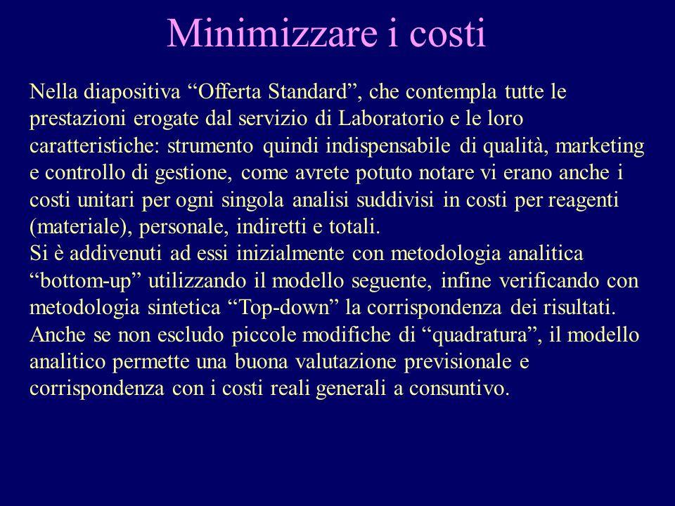 Minimizzare i costi Nella diapositiva Offerta Standard, che contempla tutte le prestazioni erogate dal servizio di Laboratorio e le loro caratteristic