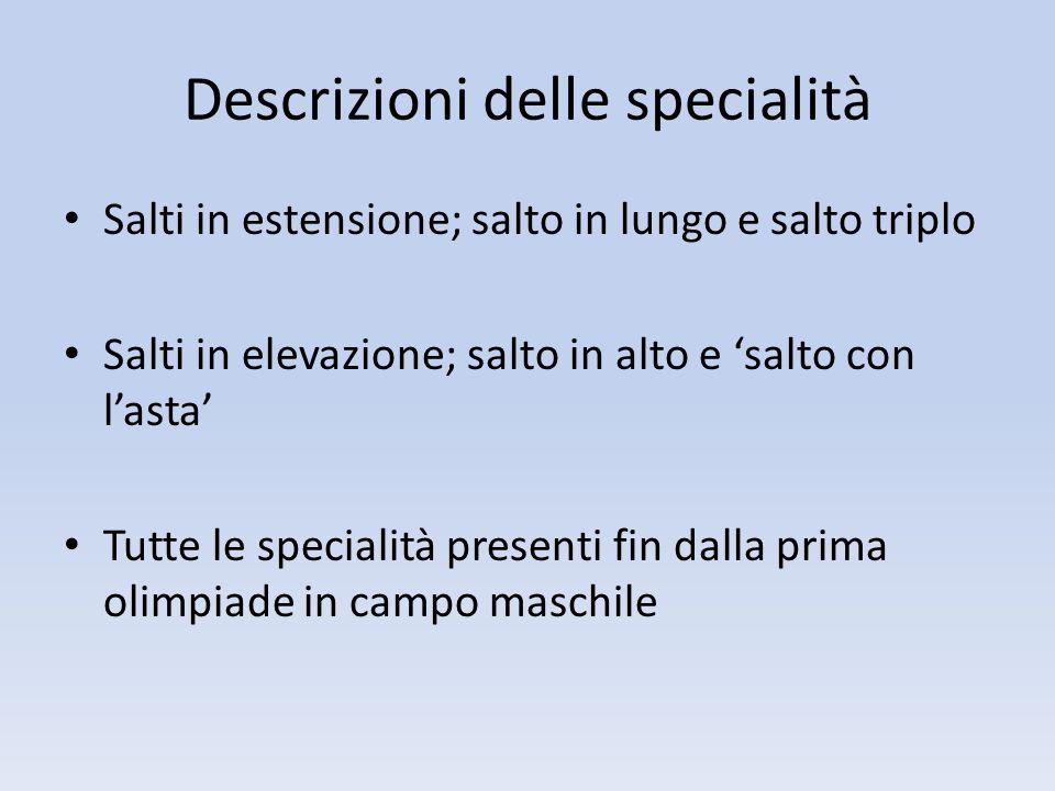 Descrizioni delle specialità Salti in estensione; salto in lungo e salto triplo Salti in elevazione; salto in alto e salto con lasta Tutte le speciali