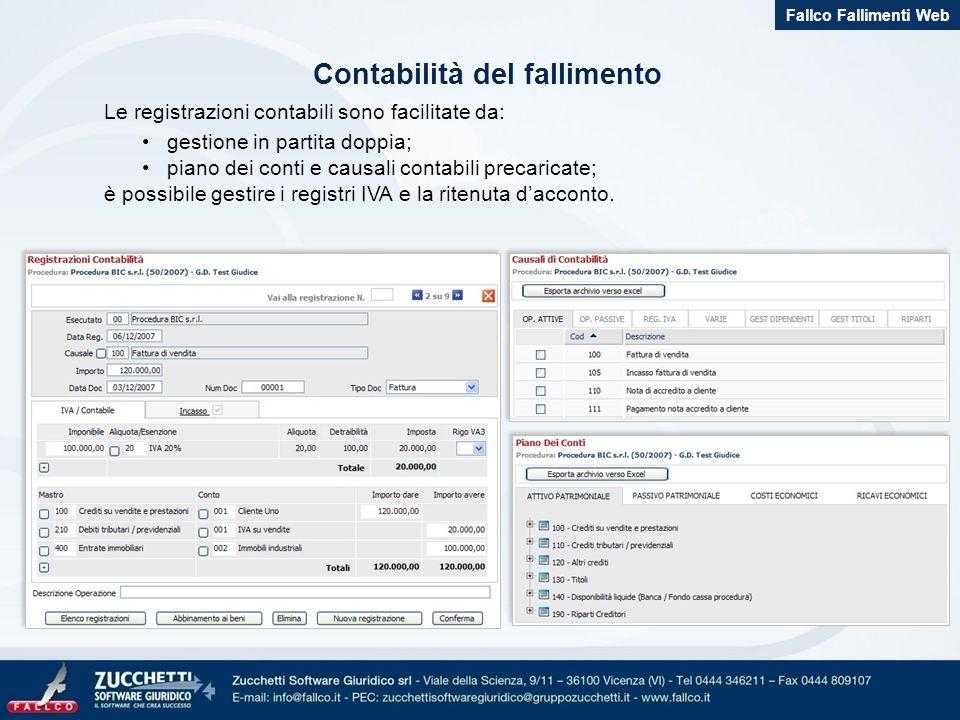 Contabilità del fallimento Le registrazioni contabili sono facilitate da: gestione in partita doppia; piano dei conti e causali contabili precaricate; è possibile gestire i registri IVA e la ritenuta dacconto.