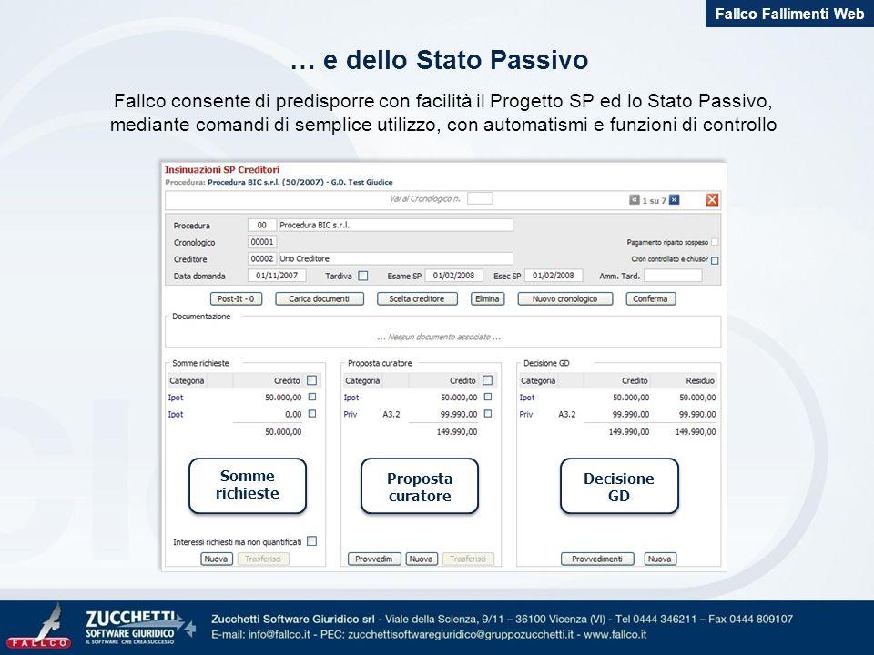 Fallco consente di predisporre con facilità il Progetto SP ed lo Stato Passivo, mediante comandi di semplice utilizzo, con automatismi e funzioni di c