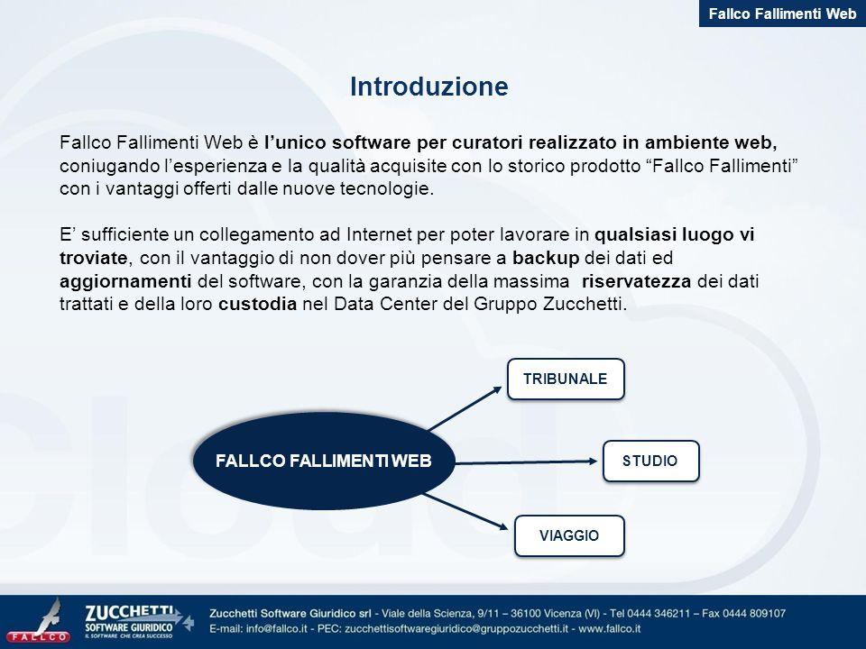Introduzione Fallco Fallimenti Web è lunico software per curatori realizzato in ambiente web, coniugando lesperienza e la qualità acquisite con lo storico prodotto Fallco Fallimenti con i vantaggi offerti dalle nuove tecnologie.