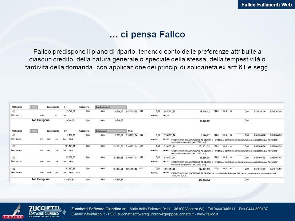 … ci pensa Fallco Fallco predispone il piano di riparto, tenendo conto delle preferenze attribuite a ciascun credito, della natura generale o speciale