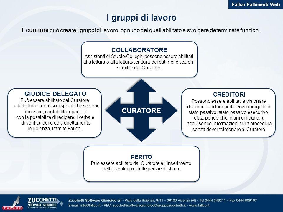 I gruppi di lavoro Il curatore può creare i gruppi di lavoro, ognuno dei quali abilitato a svolgere determinate funzioni. CURATORE PERITO Può essere a