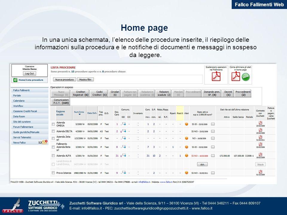 Tutti i dati della procedura e dei creditori a portata di mano Fallco Fallimenti Web Anagrafica procedura e creditori