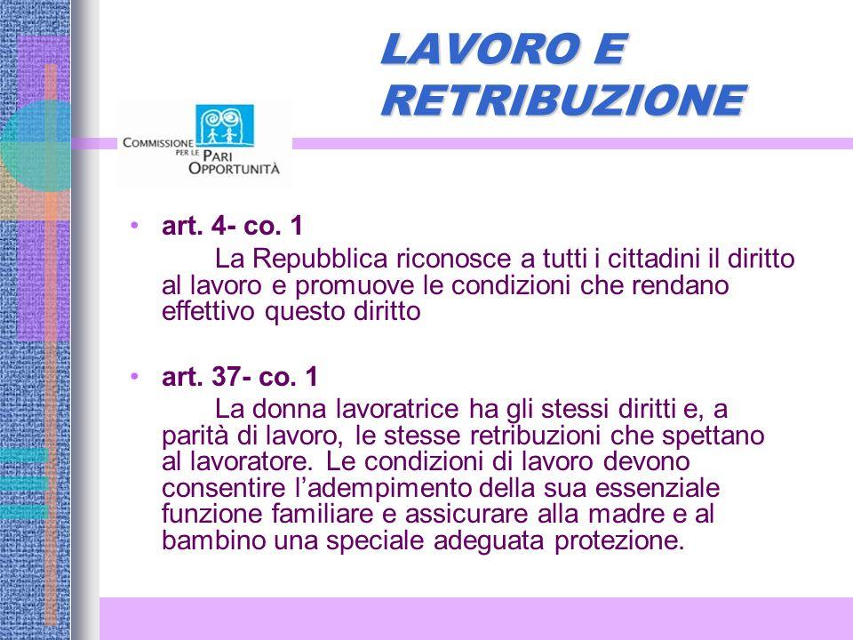LAVORO E RETRIBUZIONE art.4- co.