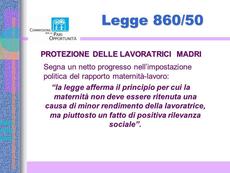 Legge 860/50 PROTEZIONE DELLE LAVORATRICI MADRI Segna un netto progresso nellimpostazione politica del rapporto maternità-lavoro: la legge afferma il principio per cui la maternità non deve essere ritenuta una causa di minor rendimento della lavoratrice, ma piuttosto un fatto di positiva rilevanza sociale.