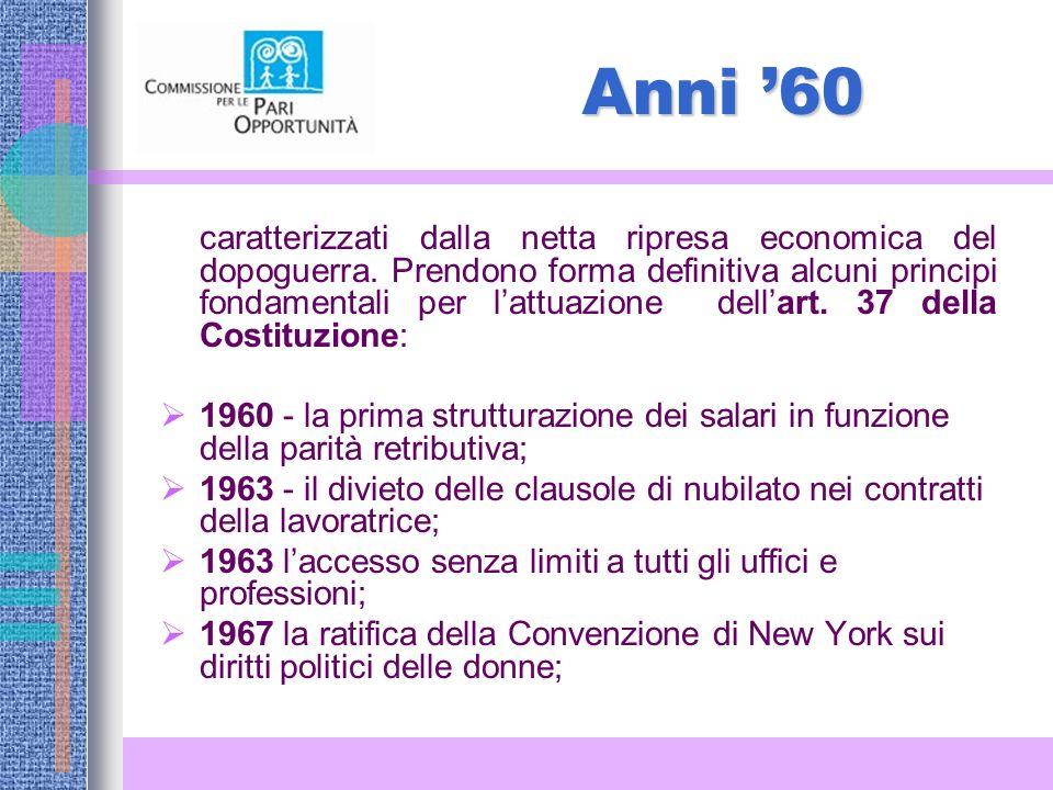 Anni 60 caratterizzati dalla netta ripresa economica del dopoguerra.