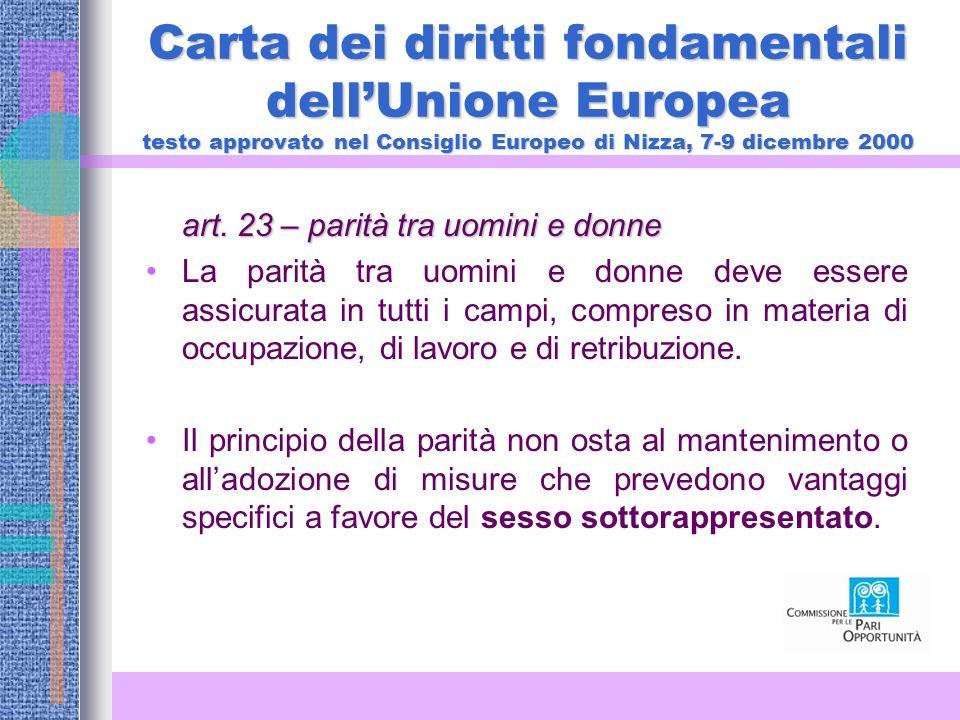Carta dei diritti fondamentali dellUnione Europea testo approvato nel Consiglio Europeo di Nizza, 7-9 dicembre 2000 art.