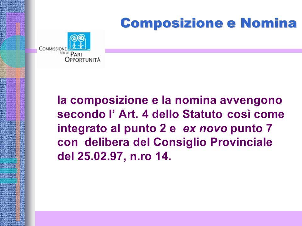 La Commissione Provinciale per le Pari Opportunità consiliatura 2004-2009 Il Presidente della Provincia dott.