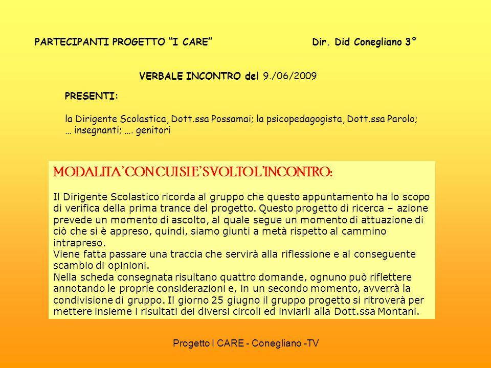 Progetto I CARE - Conegliano -TV PARTECIPANTI PROGETTO I CARE Dir. Did Conegliano 3° VERBALE INCONTRO del 9./06/2009 MODALITA CON CUI SI E SVOLTO LINC