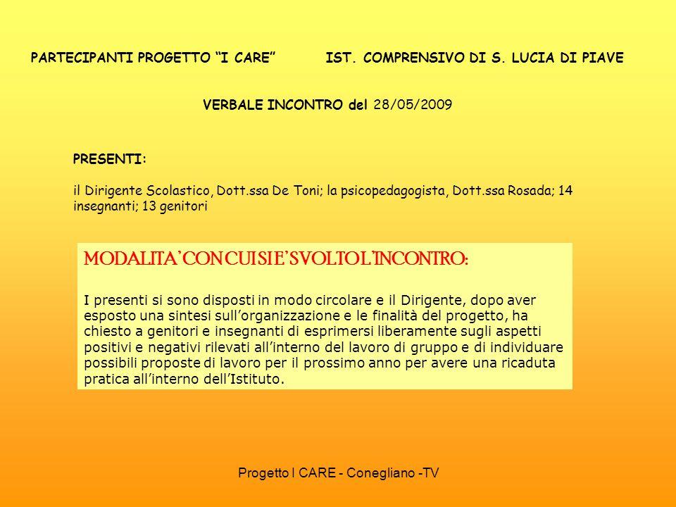 Progetto I CARE - Conegliano -TV PARTECIPANTI PROGETTO I CARE IST. COMPRENSIVO DI S. LUCIA DI PIAVE VERBALE INCONTRO del 28/05/2009 PRESENTI: il Dirig