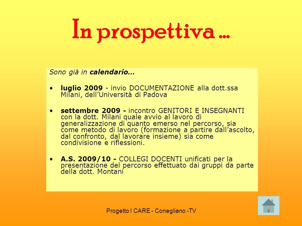 Progetto I CARE - Conegliano -TV In prospettiva … Sono già in calendario… luglio 2009 - invio DOCUMENTAZIONE alla dott.ssa Milani, dellUniversità di P