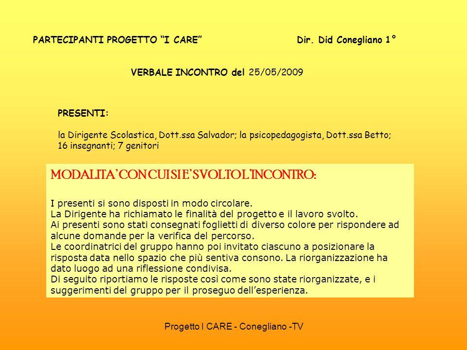 Progetto I CARE - Conegliano -TV PARTECIPANTI PROGETTO I CARE Dir. Did Conegliano 1° VERBALE INCONTRO del 25/05/2009 MODALITA CON CUI SI E SVOLTO LINC