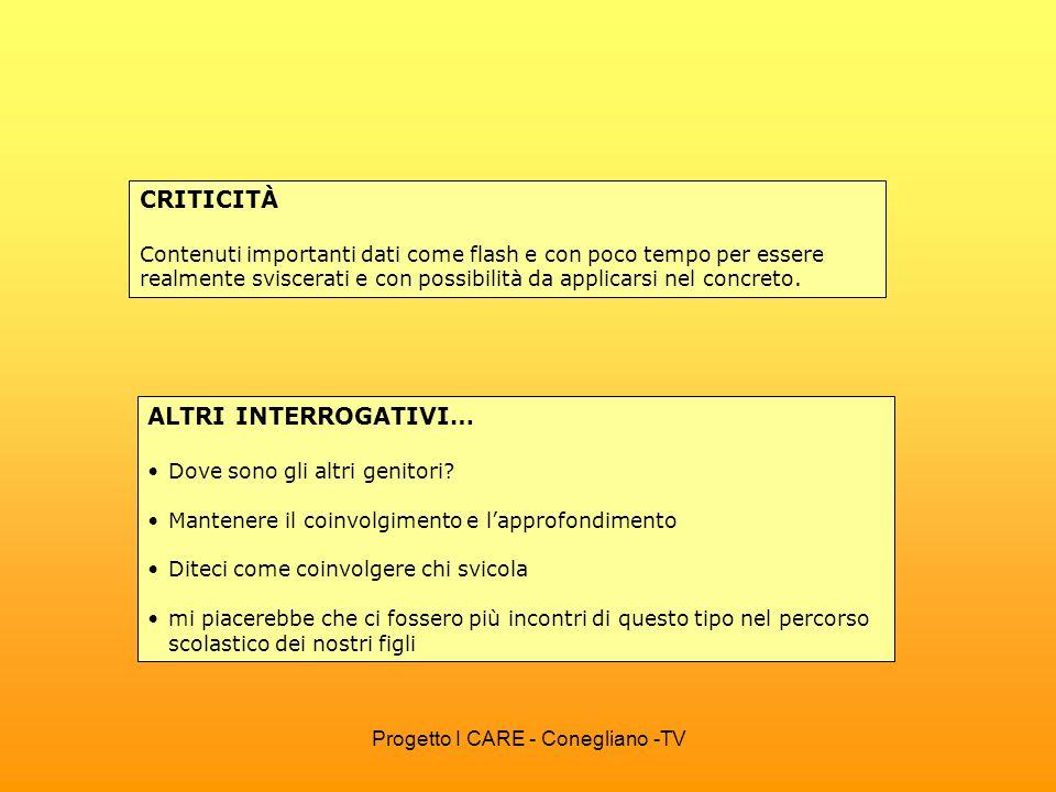 Progetto I CARE - Conegliano -TV IL PERCORSO HA CORRISPOSTO … ALLE VOSTRE ASPETTATIVE.