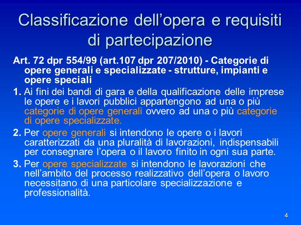 4 Classificazione dellopera e requisiti di partecipazione Art.