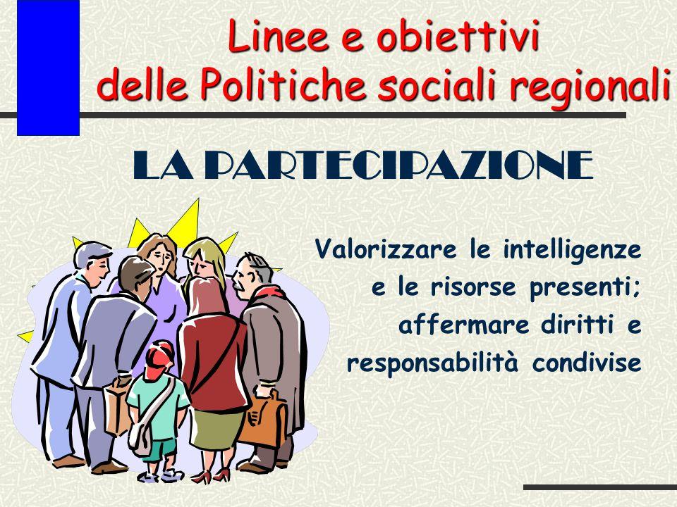 Linee e obiettivi delle Politiche sociali regionali LA PARTECIPAZIONE Valorizzare le intelligenze e le risorse presenti; affermare diritti e responsabilità condivise Obiettivo primario