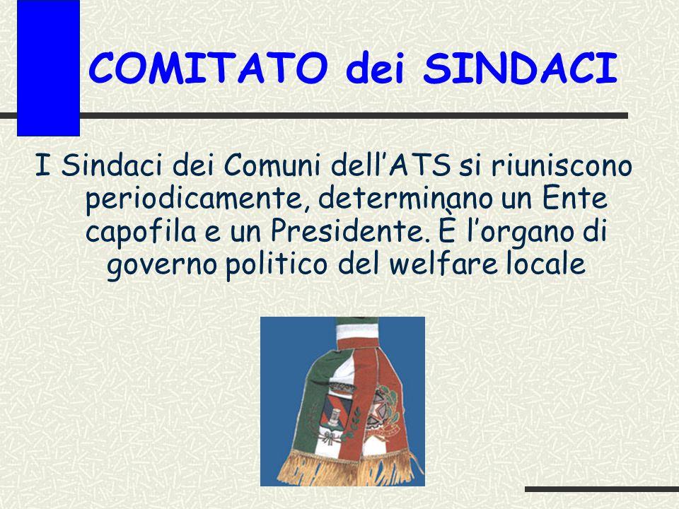 COMITATO dei SINDACI I Sindaci dei Comuni dellATS si riuniscono periodicamente, determinano un Ente capofila e un Presidente.
