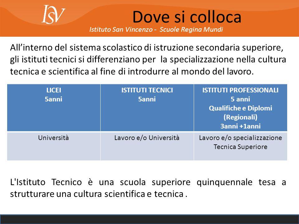 Istituto San Vincenzo - Scuole Regina Mundi Gli istituti TECNICI sono suddivisi in due settori Settore Economico 2 indirizzi Settore Tecnologico 9 indirizzi (quasi tutti con articolazioni nel triennio).