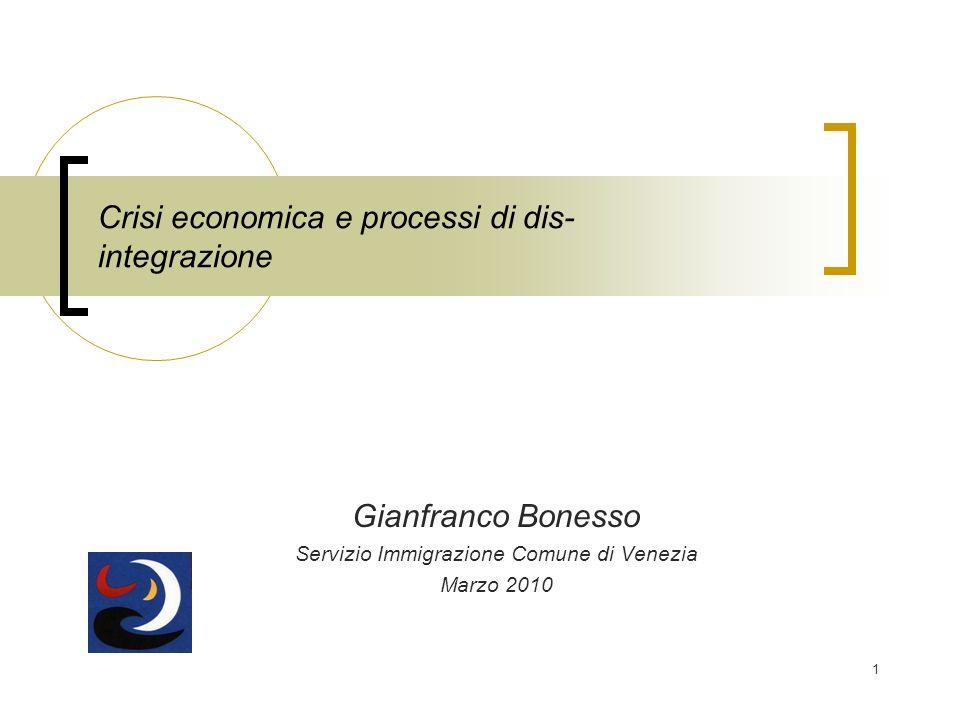 1 Crisi economica e processi di dis- integrazione Gianfranco Bonesso Servizio Immigrazione Comune di Venezia Marzo 2010