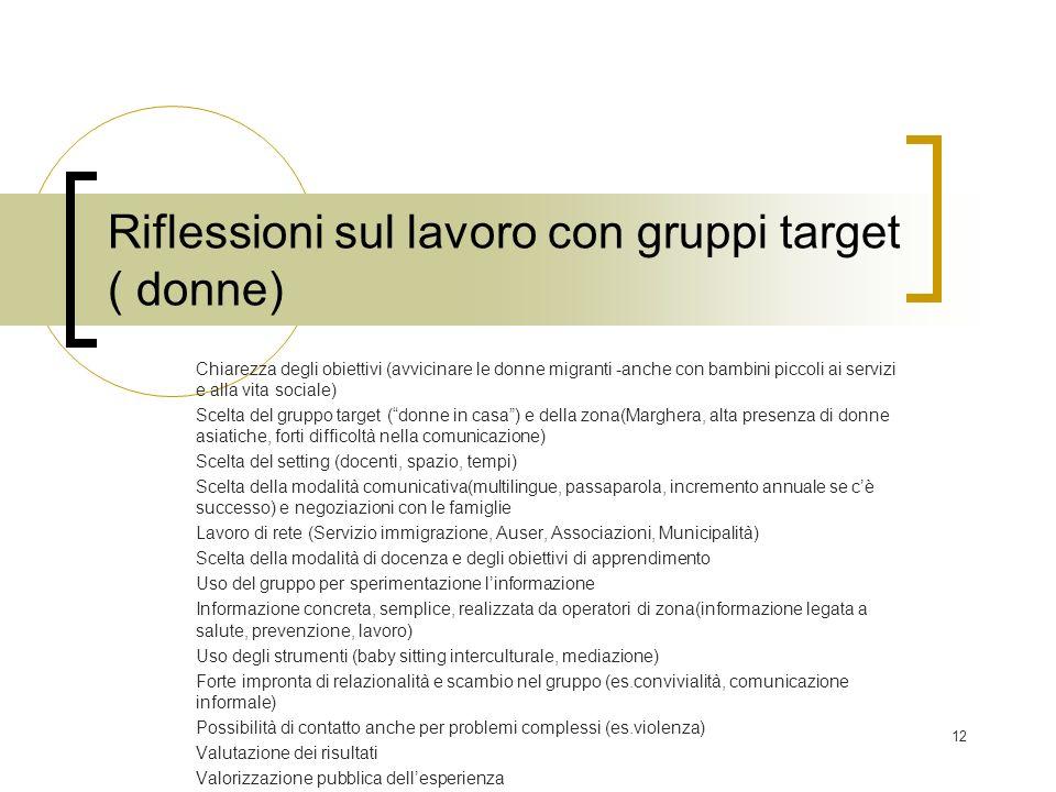 12 Riflessioni sul lavoro con gruppi target ( donne) Chiarezza degli obiettivi (avvicinare le donne migranti -anche con bambini piccoli ai servizi e a
