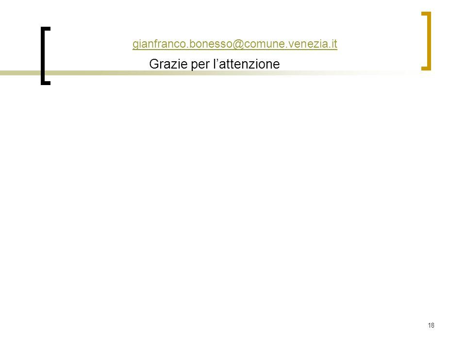 18 gianfranco.bonesso@comune.venezia.it Grazie per lattenzione