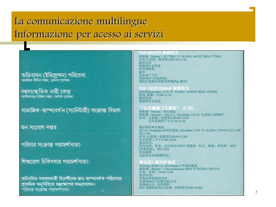 7 La comunicazione multilingue Informazione per acesso ai servizi