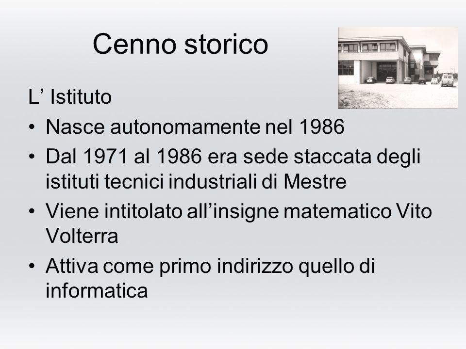 Cenno storico L Istituto Nasce autonomamente nel 1986 Dal 1971 al 1986 era sede staccata degli istituti tecnici industriali di Mestre Viene intitolato allinsigne matematico Vito Volterra Attiva come primo indirizzo quello di informatica