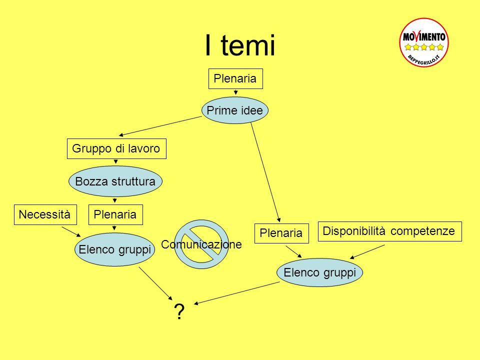 I temi Plenaria Gruppo di lavoro Plenaria Prime idee Bozza struttura Elenco gruppi Disponibilità competenze Plenaria Necessità .
