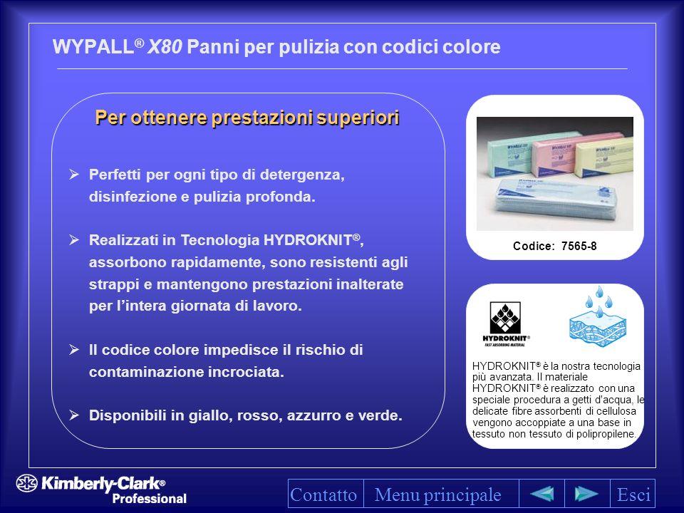 Per ottenere prestazioni superiori Per ottenere prestazioni superiori WYPALL ® X80 Panni per pulizia con codici colore Menu principaleEsci HYDROKNIT ® è la nostra tecnologia più avanzata.