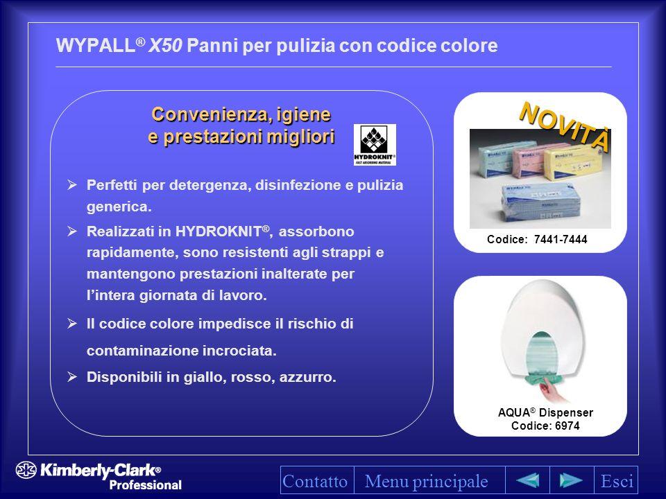WYPALL ® X50 Panni per pulizia con codice colore Menu principaleEsci Convenienza, igiene Convenienza, igiene e prestazioni migliori e prestazioni migliori Perfetti per detergenza, disinfezione e pulizia generica.