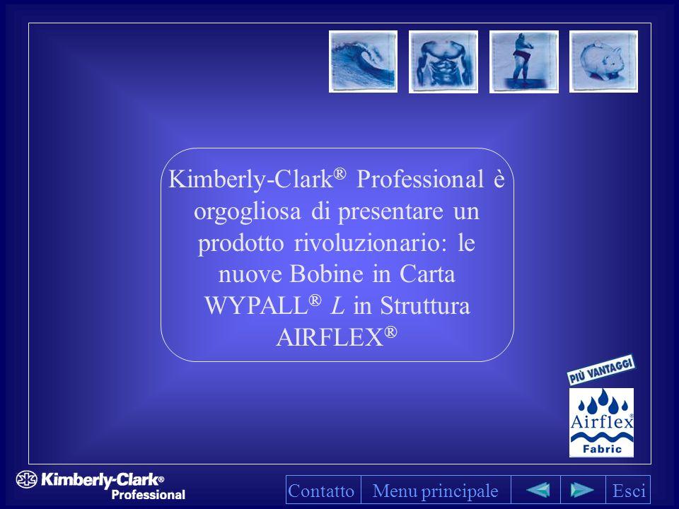 Kimberly-Clark ® Professional è orgogliosa di presentare un prodotto rivoluzionario: le nuove Bobine in Carta WYPALL ® L in Struttura AIRFLEX ® Menu principaleEsciContatto