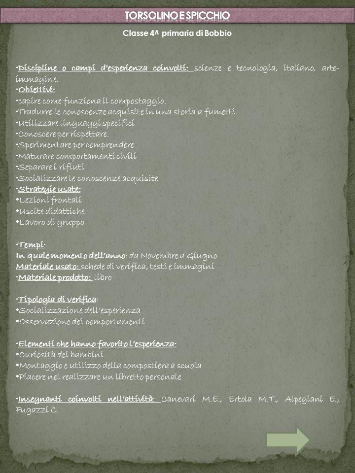 Classe 4^ primaria di Bobbio Discipline o campi desperienza coinvolti: scienze e tecnologia, italiano, arte- immagine. Obiettivi: capire come funziona