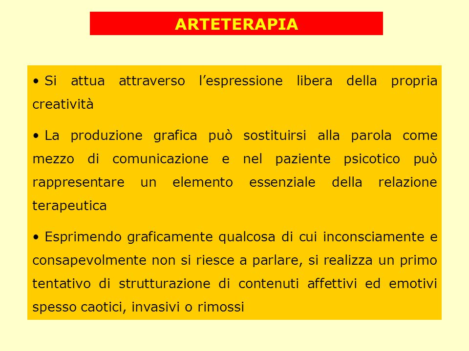 ARTETERAPIA Si attua attraverso lespressione libera della propria creatività La produzione grafica può sostituirsi alla parola come mezzo di comunicaz