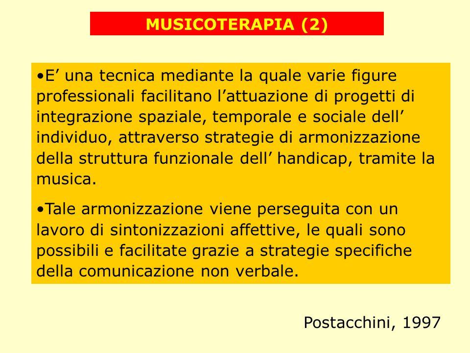 MUSICOTERAPIA (2) E una tecnica mediante la quale varie figure professionali facilitano lattuazione di progetti di integrazione spaziale, temporale e