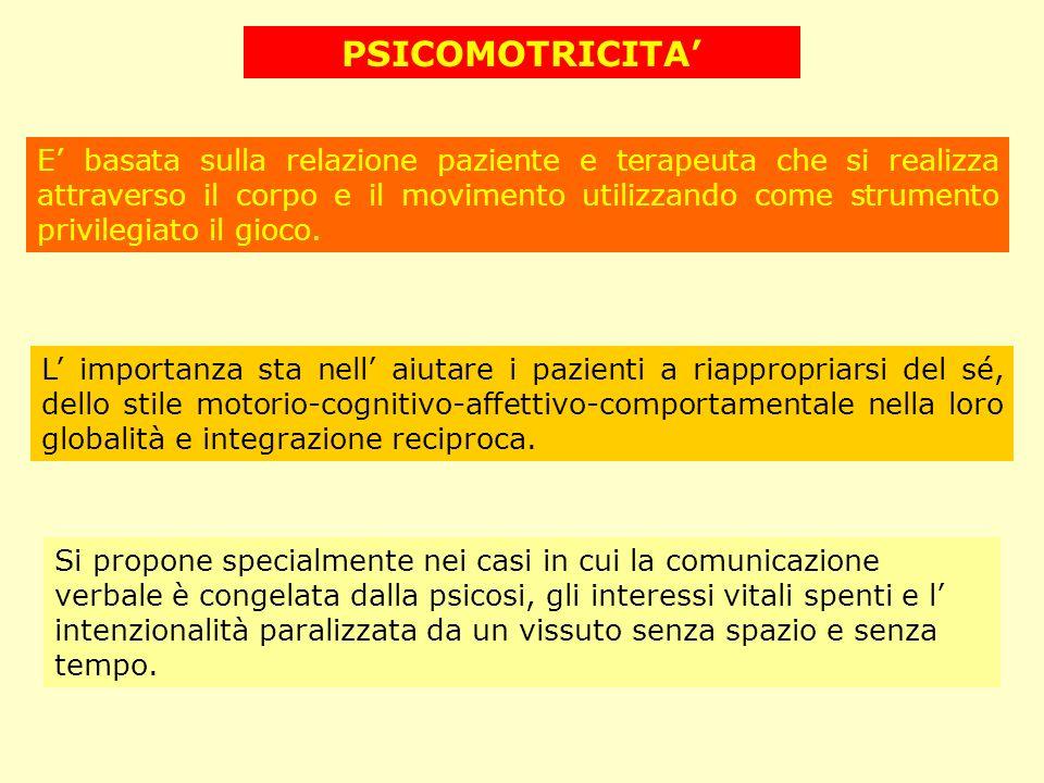 PSICOMOTRICITA E basata sulla relazione paziente e terapeuta che si realizza attraverso il corpo e il movimento utilizzando come strumento privilegiat