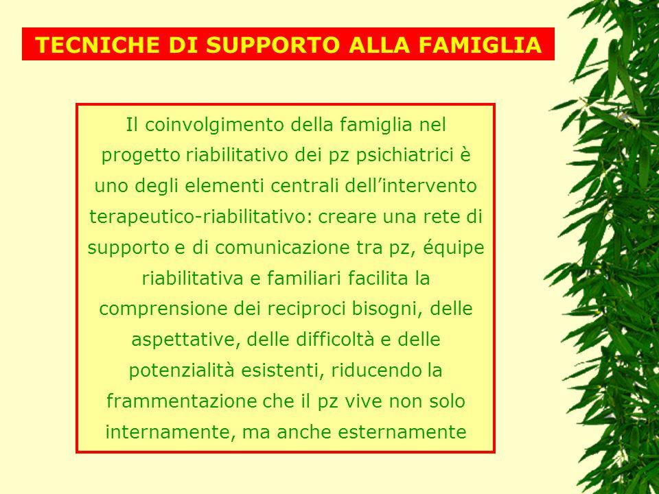 TECNICHE DI SUPPORTO ALLA FAMIGLIA Il coinvolgimento della famiglia nel progetto riabilitativo dei pz psichiatrici è uno degli elementi centrali delli