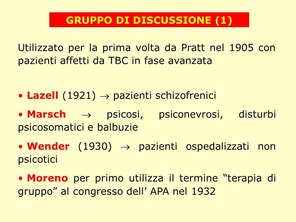 GRUPPO DI DISCUSSIONE (1) Utilizzato per la prima volta da Pratt nel 1905 con pazienti affetti da TBC in fase avanzata Lazell (1921) pazienti schizofr