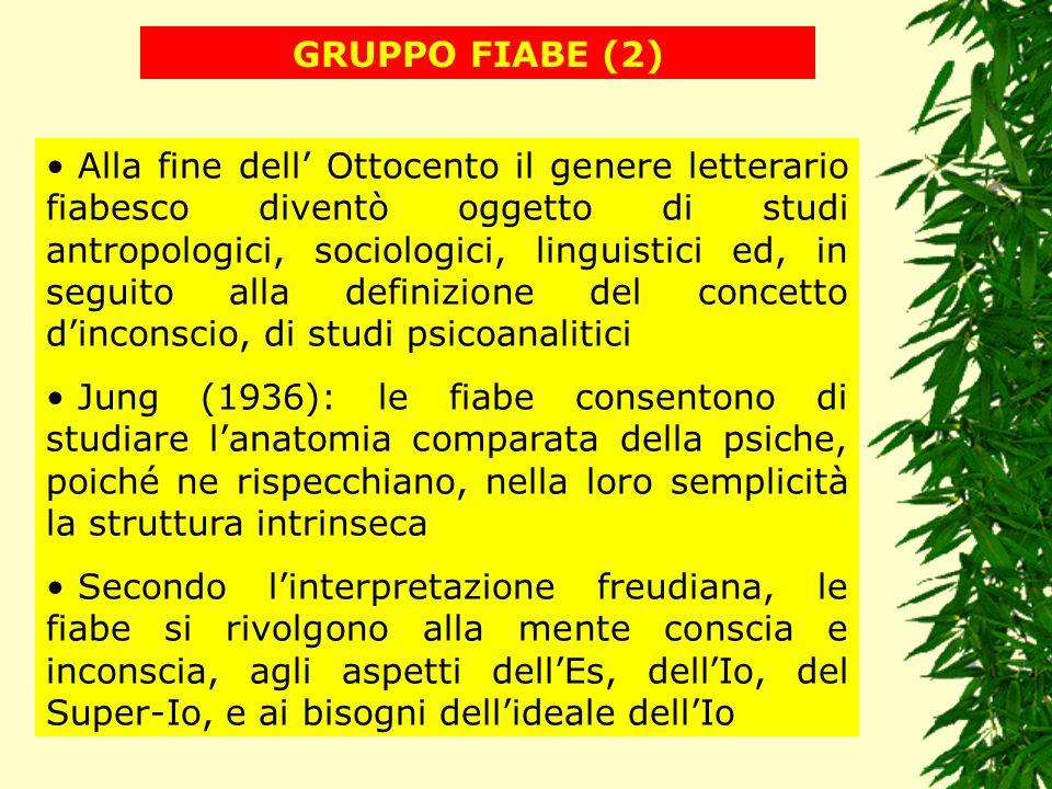 GRUPPO FIABE (2) Alla fine dell Ottocento il genere letterario fiabesco diventò oggetto di studi antropologici, sociologici, linguistici ed, in seguit