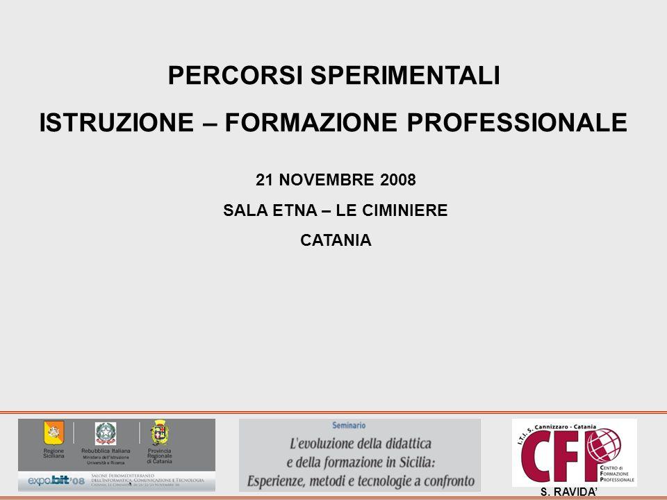 S. RAVIDA PERCORSI SPERIMENTALI ISTRUZIONE – FORMAZIONE PROFESSIONALE 21 NOVEMBRE 2008 SALA ETNA – LE CIMINIERE CATANIA