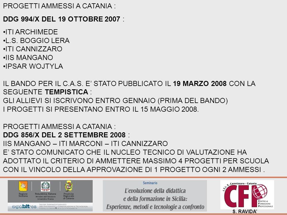 S. RAVIDA PROGETTI AMMESSI A CATANIA : DDG 994/X DEL 19 OTTOBRE 2007 : ITI ARCHIMEDE L.S. BOGGIO LERA ITI CANNIZZARO IIS MANGANO IPSAR WOJTYLA IL BAND