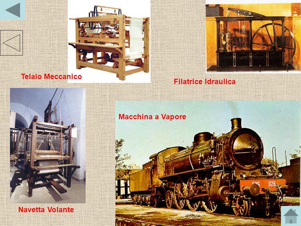 Le nuove macchine utilizzate nelle fabbriche erano molte: per esempio, la Navetta Volante di John Kay, che aumentava la capacità produttiva del telaio