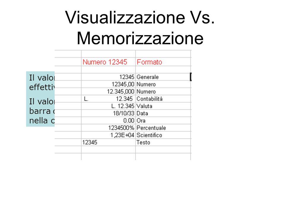 100 Visualizzazione Vs. Memorizzazione Il valore visualizzato in una cella e il valore in essa effettivamente contenuto possono differire. Il valore e