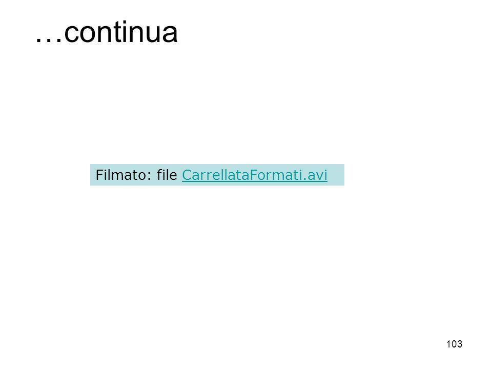 103 …continua Filmato: file CarrellataFormati.aviCarrellataFormati.avi
