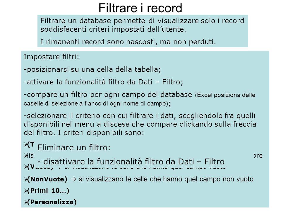 114 Filtrare i record Filtrare un database permette di visualizzare solo i record soddisfacenti criteri impostati dallutente. I rimanenti record sono