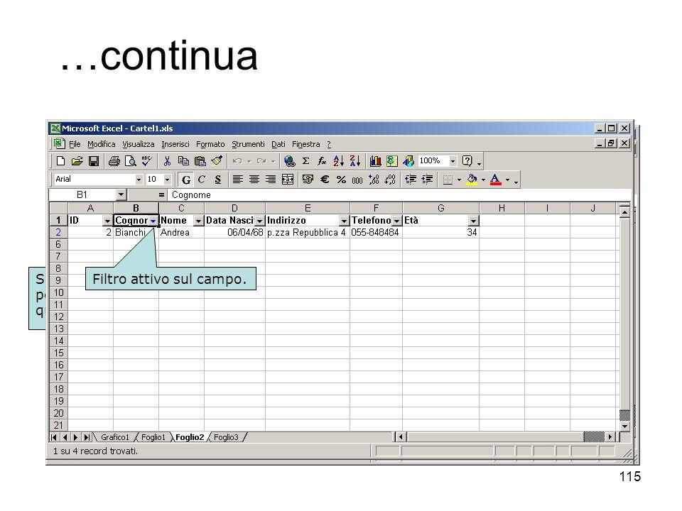 115 …continua Selezionare il database o posizionarsi su una cella qualsiasi di esso. Dati – Filtro - Filtro Automatico … Menù a tendina con criteri pr