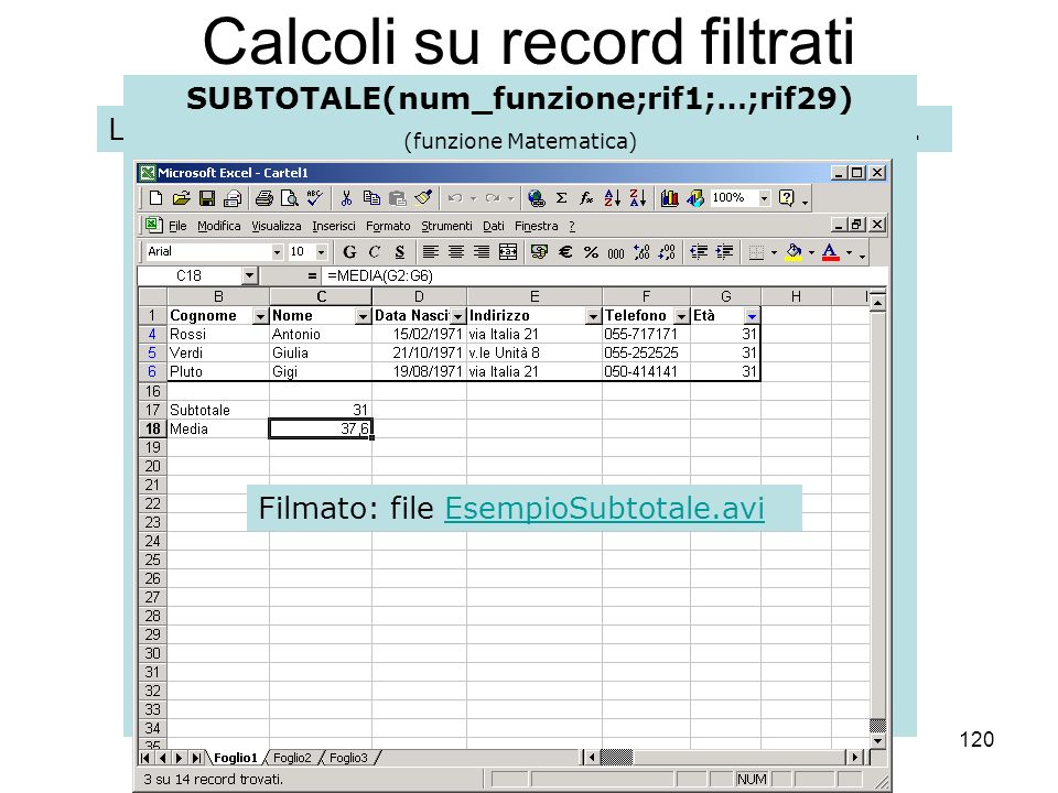 120 Calcoli su record filtrati Le funzioni effettuano calcoli riferiti allintero database. SUBTOTALE(num_funzione;rif1;…;rif29) (funzione Matematica)