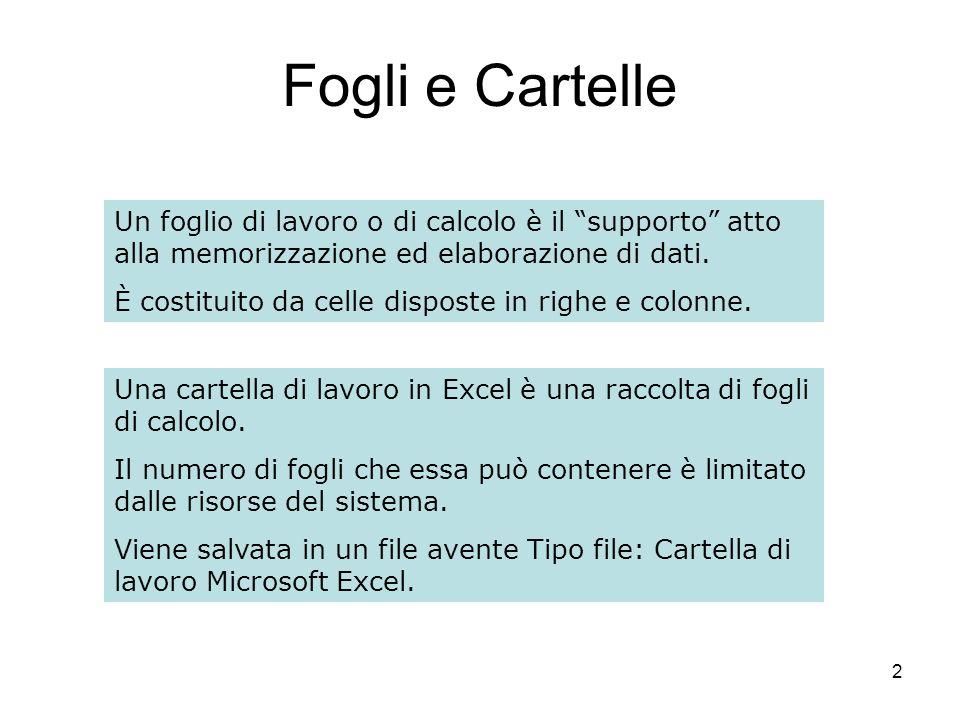 2 Fogli e Cartelle Un foglio di lavoro o di calcolo è il supporto atto alla memorizzazione ed elaborazione di dati.