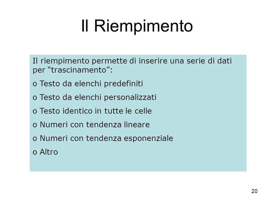 20 Il Riempimento Il riempimento permette di inserire una serie di dati per trascinamento: o Testo da elenchi predefiniti o Testo da elenchi personalizzati o Testo identico in tutte le celle o Numeri con tendenza lineare o Numeri con tendenza esponenziale o Altro