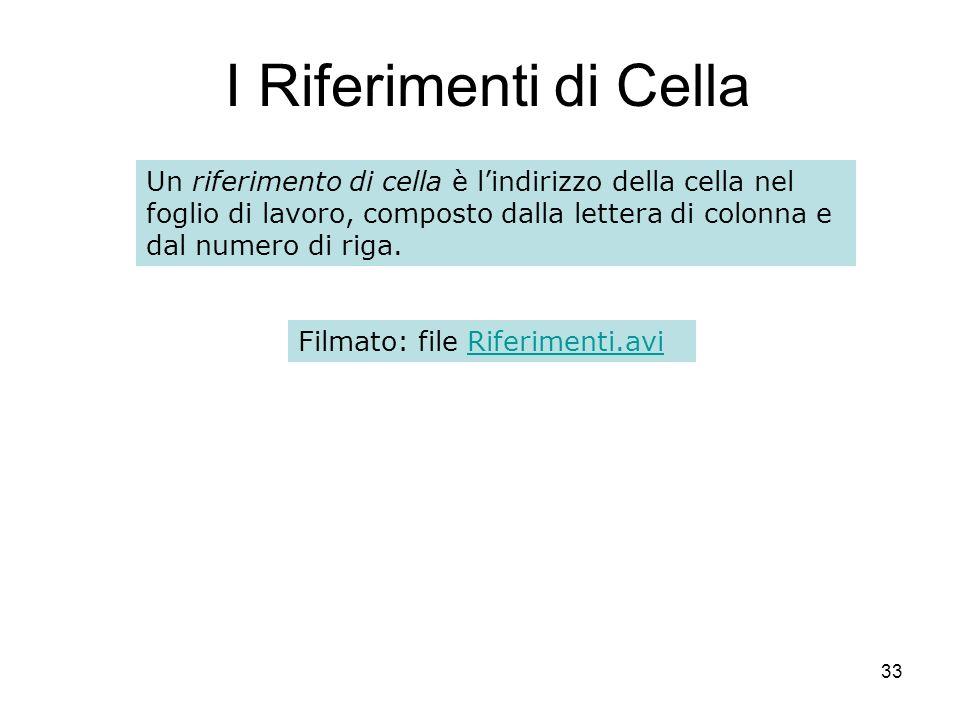 33 I Riferimenti di Cella Un riferimento di cella è lindirizzo della cella nel foglio di lavoro, composto dalla lettera di colonna e dal numero di riga.