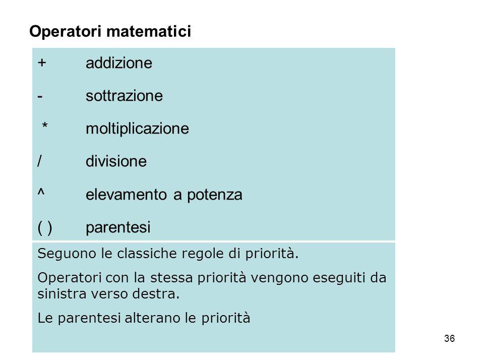 36 Operatori matematici +addizione - sottrazione *moltiplicazione /divisione ^ elevamento a potenza ( ) parentesi Seguono le classiche regole di priorità.